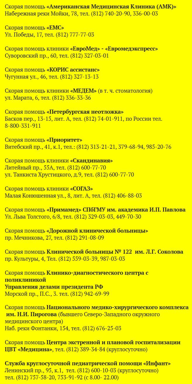 Платные службы скорой помощи Санкт-Петербурга