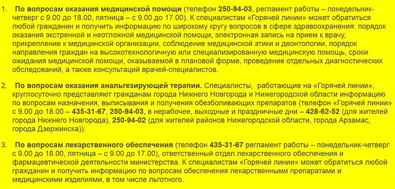 Горячая линия для жителей Нижегородской обл по вопросам медицинского обслуживания и лекарств