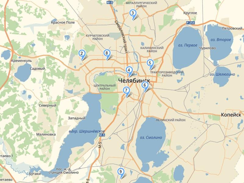 Карта подстанций скорой помощи в Челябинске