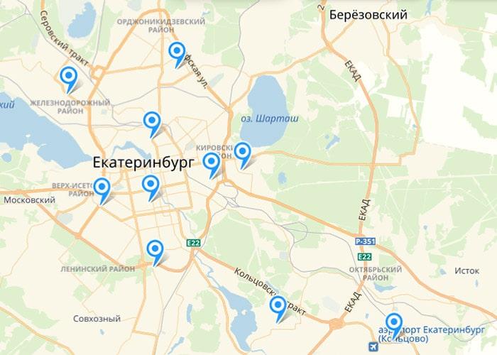 Карта подстанций Скорой Екатеринбурга