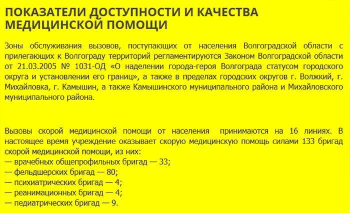 Количество бригад СМП Волгограда