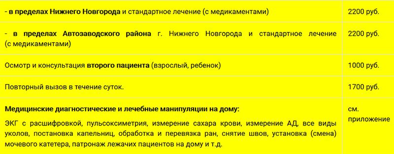 """Прейскурант цен ООО """"Медицинский стандарт"""""""