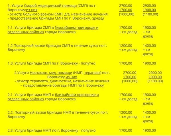 """Прайс-лист на услуги ООО """"Скорая помощь 072"""""""