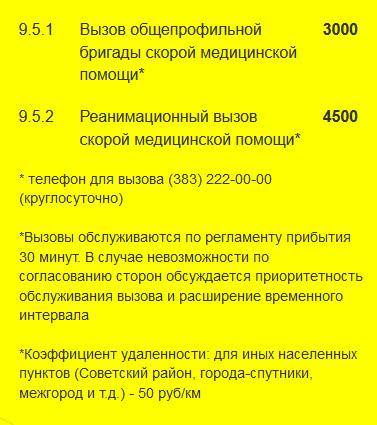 "Расценки на услуги скорой помощи ""Претор"""